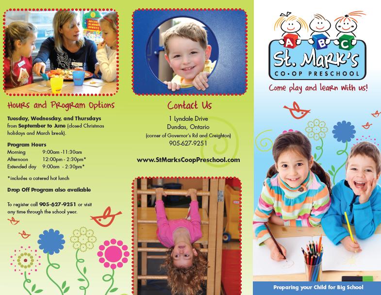 New Brochure and Logo for StMarks Coop Preschool Allegra Print – Sample Preschool Brochure