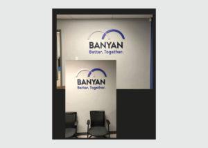 Banyan wall sign and install