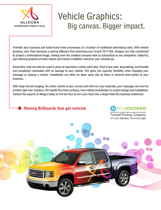 Vehicle graphics sell sheet